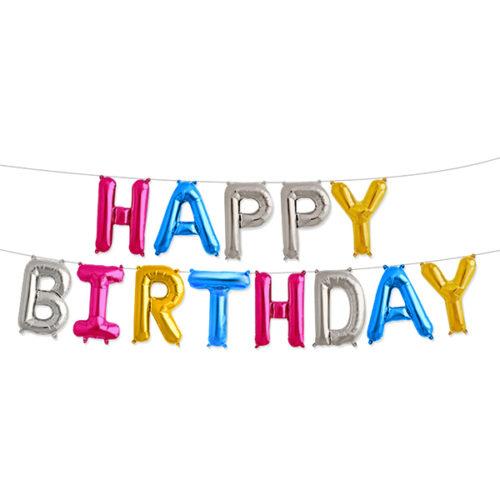 Надпись Happy Birthday Ассорти с воздухом 41 см