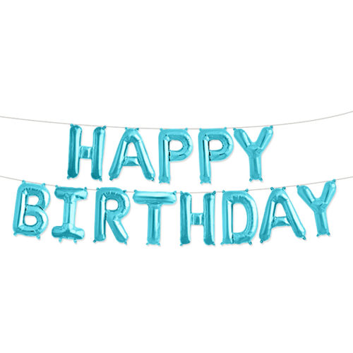 Надпись Happy Birthday Голубой с воздухом 41 см
