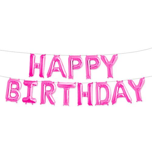 Надпись Happy Birthday Розовый с воздухом 41 см