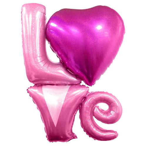 Шар 104 см Фигура Надпись LOVE Розовый голография
