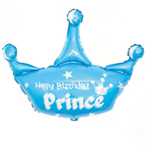 Шар 43 см Мини-Фигура Корона С ДР Принц Голубой