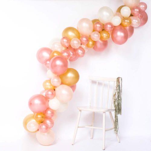 Гирлянда из разных шариков цвет Персик Розовый Золото 2 метра
