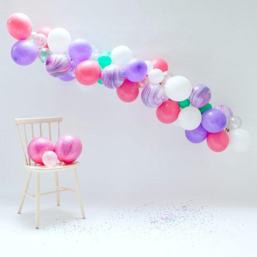 Гирлянда из разных шариков цвет Розовый Сиреневый и Мрамор 2 метра