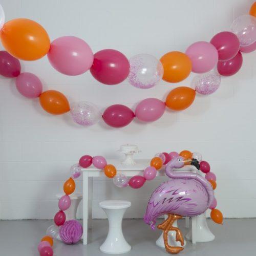 Комплект гирлянд из шаров с воздухом Корал 3 размера по 3 метра и Фламинго