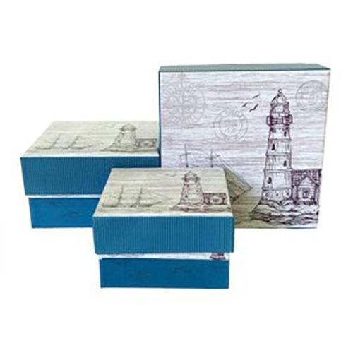 Коробка 13,2 х 13,2 х 7,6 Морской Стиль Маяк Квадрат