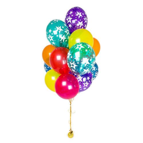 Фонтан из 15 шаров Микс со звездами