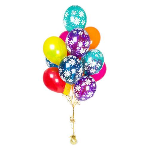 Фонтан из 15 шаров Микс со ромашками