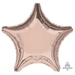 Шар 46 см Звезда Металлик Розовое золото