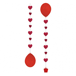 Грузик Гирлянда Сердца красный блеск 1 штука