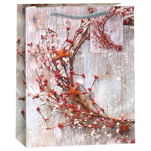 Пакет подарочный Новогодний Ветви 18 x 23 x 10