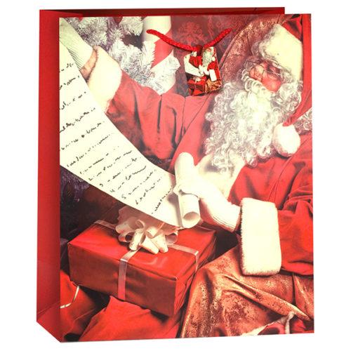 Пакет подарочный Новогодний Дед Мороз Красный 26 x 32 x 12