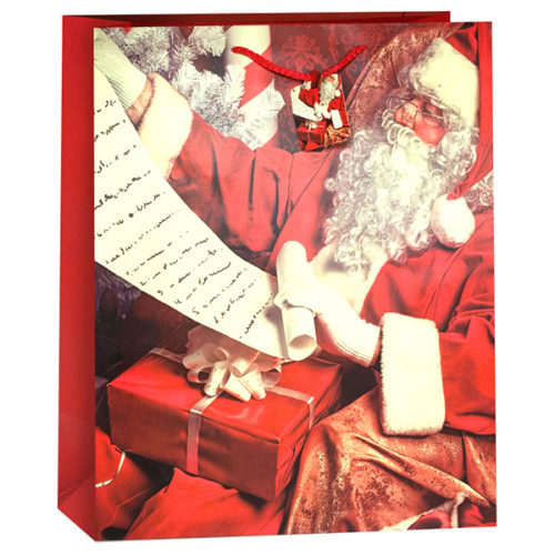 Пакет подарочный Новогодний Дед Мороз Красный 31 x 42 x 12