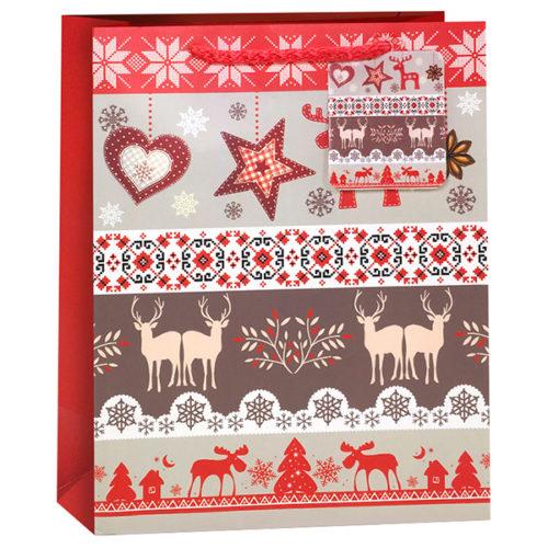 Пакет подарочный Новогодний рисунки Красный 26 x 32 x 12