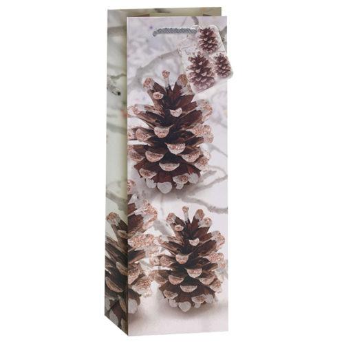 Пакет подарочный для вина Новогодний Шишки Белый 12,5 х 34,5 х 10 см
