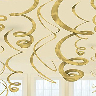 Спираль 46 - 60 см Золотые Gold 12 штук