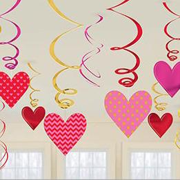 Спираль 46 - 60 см Сердца красные и розовые 12 штук