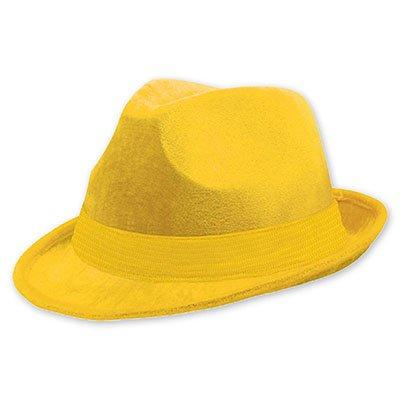 Шляпа-федора велюр Желтая