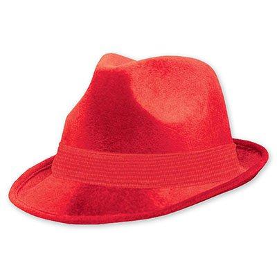 Шляпа-федора велюр Красная