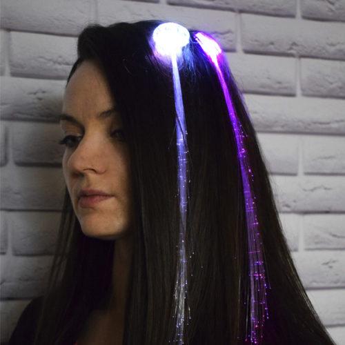 Прядь на заколке LED мигающая многоцветная