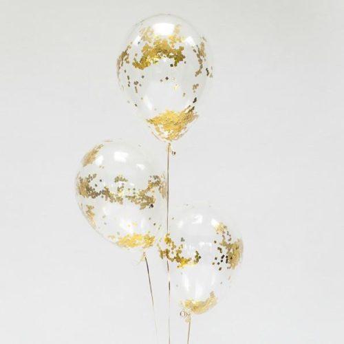 Связка из 3 шаров с Конфетти Квадратики Золото