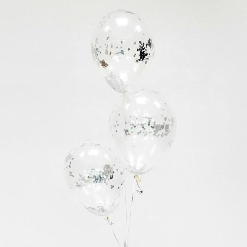 Связка из 3 шаров с Конфетти Квадратики Серебро
