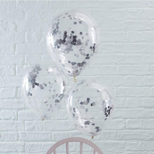 Связка из 3 шаров с Конфетти Круги Серебро