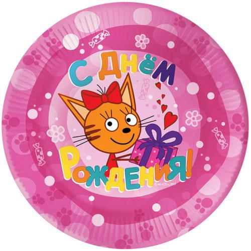 Тарелки 17 см Три Кота Розовый 6 штук