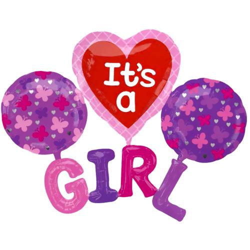 Шар 183 см Фигура Набор Girl Розовый с воздухом