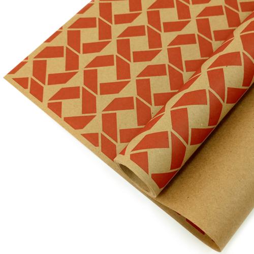 Упаковочная бумага Крафт 40гр 0,72 м Ромбы красные 1 метр