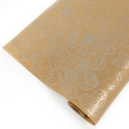 Упаковочная бумага Крафт 40гр 0,72 м Сердечки фигурные серебряные 1 метр