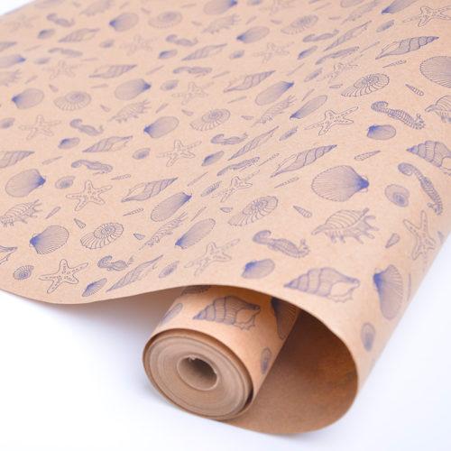 Упаковочная бумага Крафт 40гр 0,72 х 10 м Ракушки