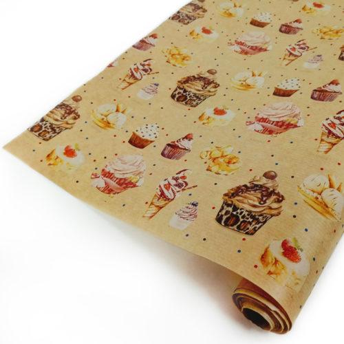 Упаковочная бумага Крафт 40гр 0,72 х 10 м Сладости