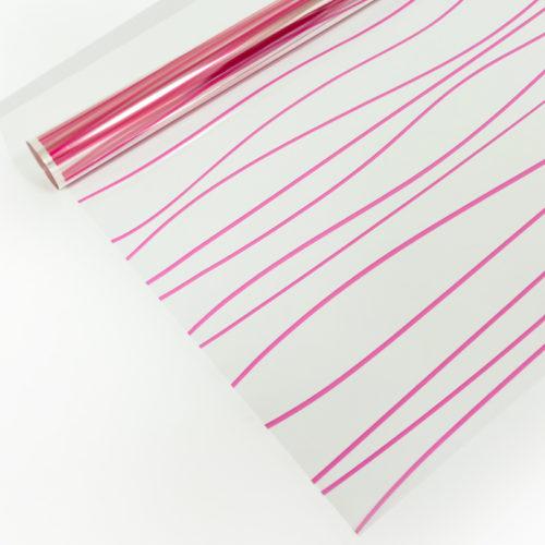 Упаковочная пленка 40мкм 0,72 м Полосы розовые 1 метр