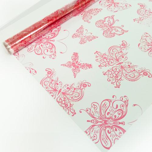 Упаковочная пленка 40мкм 0,72 х 7,5 м Бабочки розовые