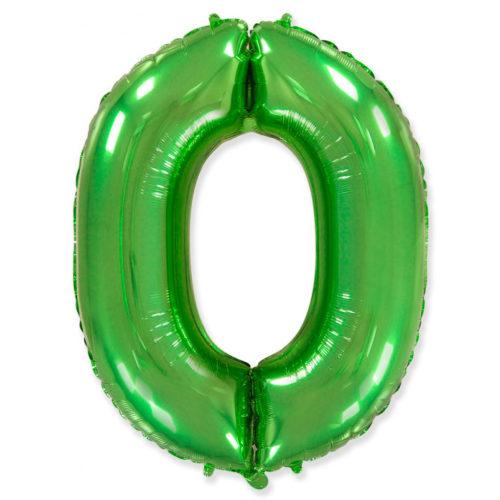 Шар 102 см Цифра 0 Зеленый