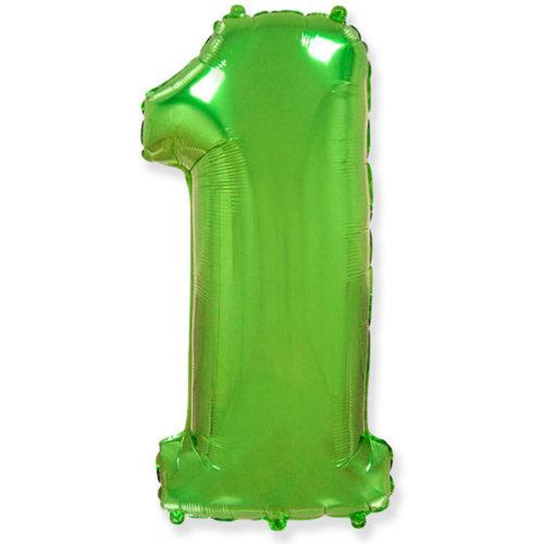 Шар 102 см Цифра 1 Зеленый