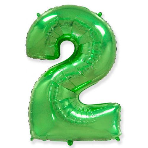 Шар 102 см Цифра 2 Зеленый