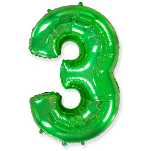 Шар 102 см Цифра 3 Зеленый