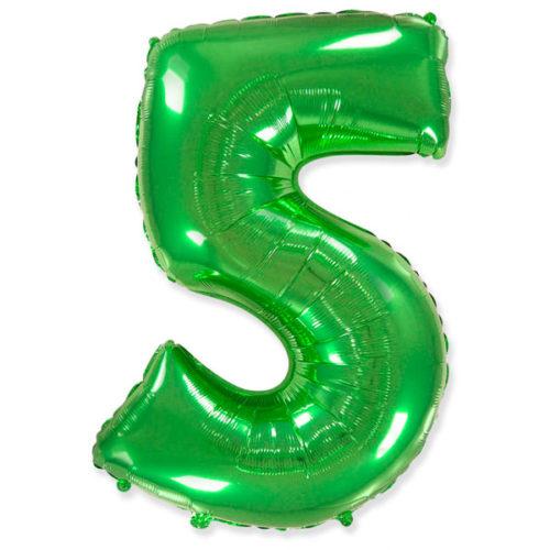 Шар 102 см Цифра 5 Зеленый