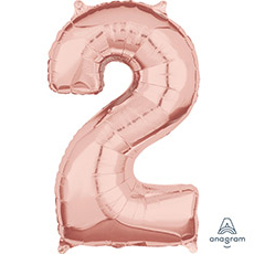 Шар 66 см Цифра 2 Розовое Золото
