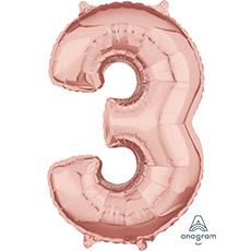 Шар 66 см Цифра 3 Розовое Золото