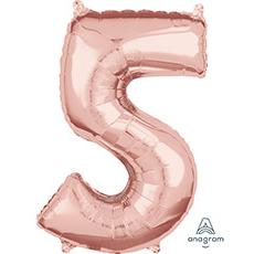 Шар 66 см Цифра 5 Розовое Золото