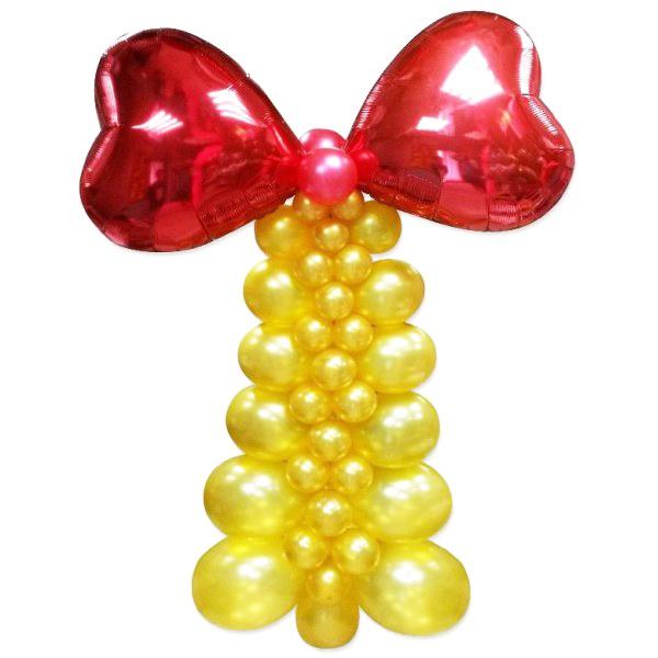 Золотой колокольчик плетеный из шаров с красной лентой
