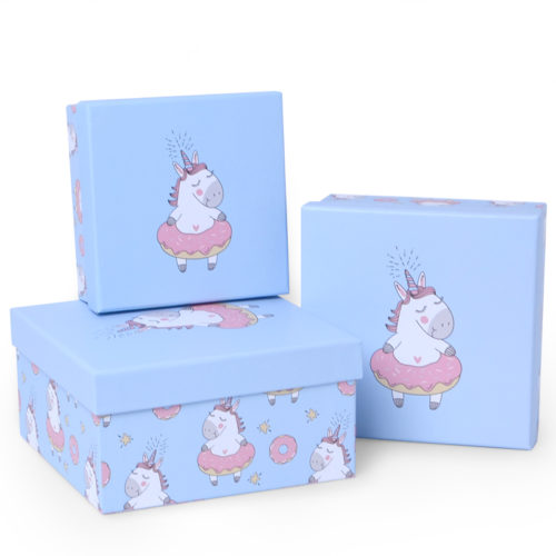 Коробка Единорог и пончик Светло-голубой 15 х 15 х 8 см