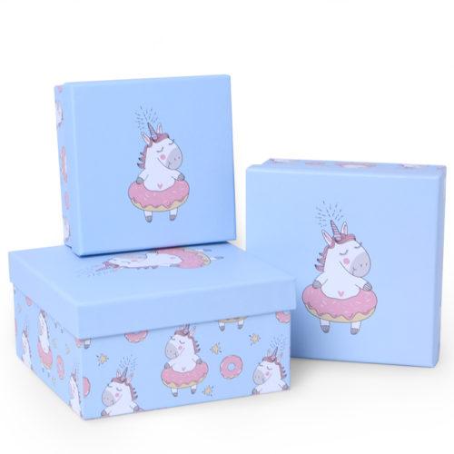 Коробка Единорог и пончик Светло-голубой 17 х 17 х 9 см
