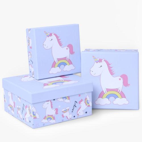 Коробка Единорог и радуга Светло-голубой 17 х 17 х 9 см