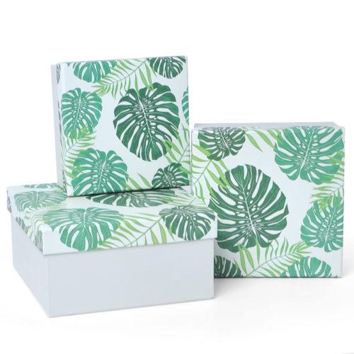 Коробка Зеленые листья Белый 17 х 17 х 9 см