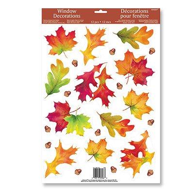 Наклейка на окно 46 х 30 см Осенние листья 12 деталей