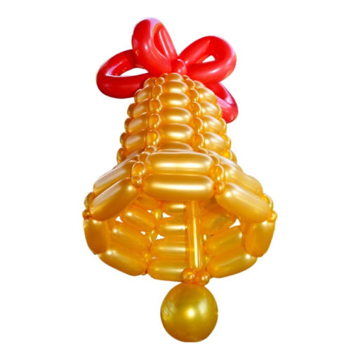 Средний колокольчик плетеный из шаров с красной лентой