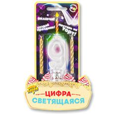 Цифра LED 9 для торта и праздничного стола + 2 свечи